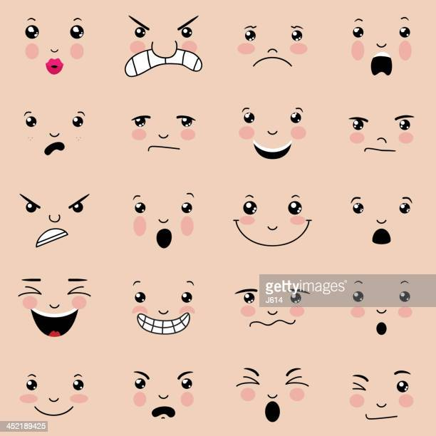 various facial expressions with pink cheeks  - cute stock illustrations