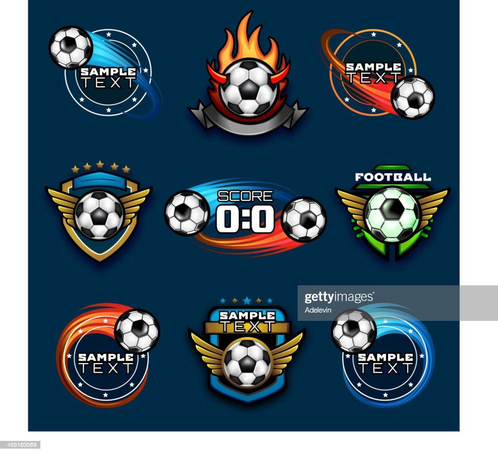 Various football emblems : stock illustration