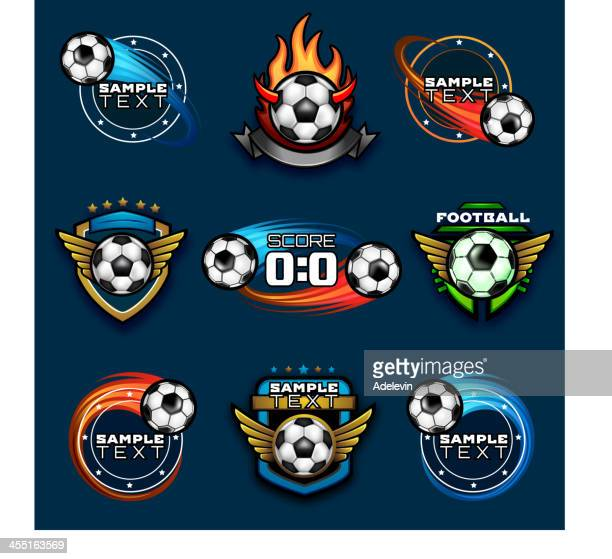 various football emblems - match sport stock illustrations, clip art, cartoons, & icons