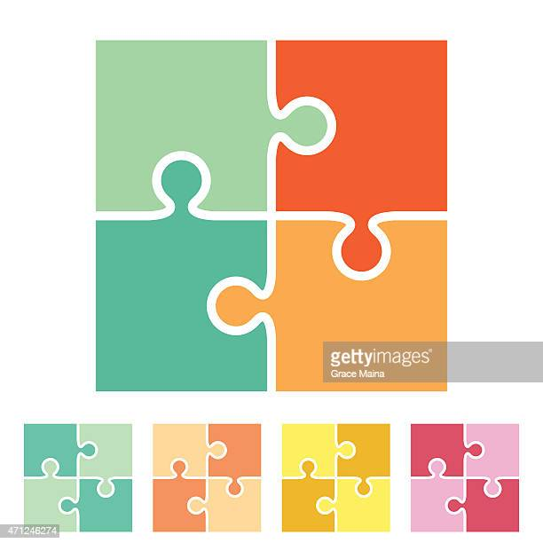 various four piece puzzles in multiple colors - jigsaw piece stock illustrations, clip art, cartoons, & icons