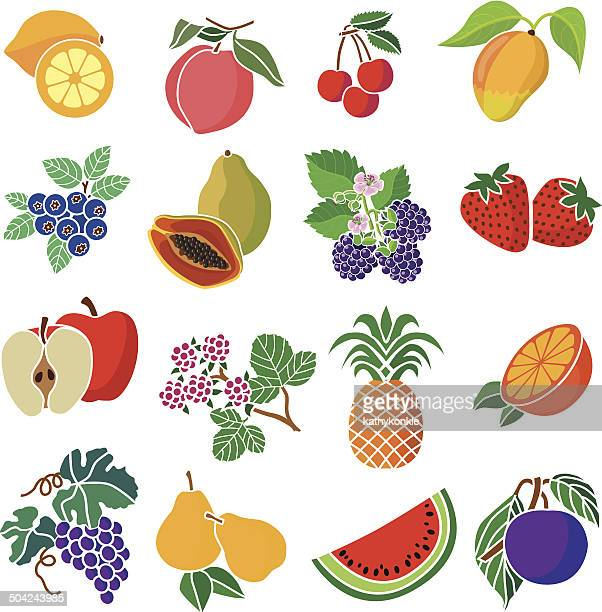 various fruits and berries - mango fruit stock illustrations, clip art, cartoons, & icons