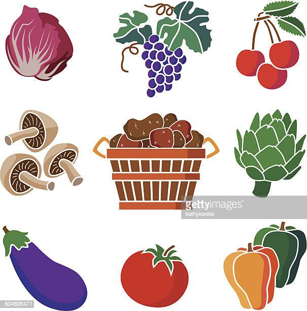 various fruits and vegetables - endive stock illustrations, clip art, cartoons, & icons