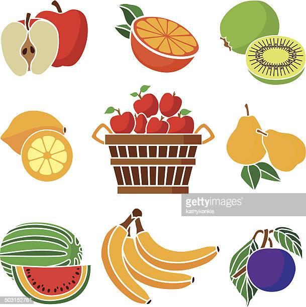 ilustraciones, imágenes clip art, dibujos animados e iconos de stock de icono conjunto de varias frutas - puesto de mercado