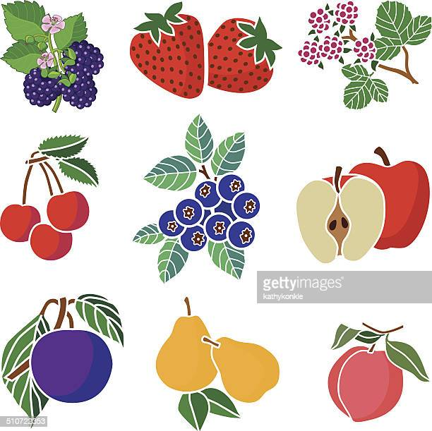 various fruits icons - blueberry stock illustrations, clip art, cartoons, & icons