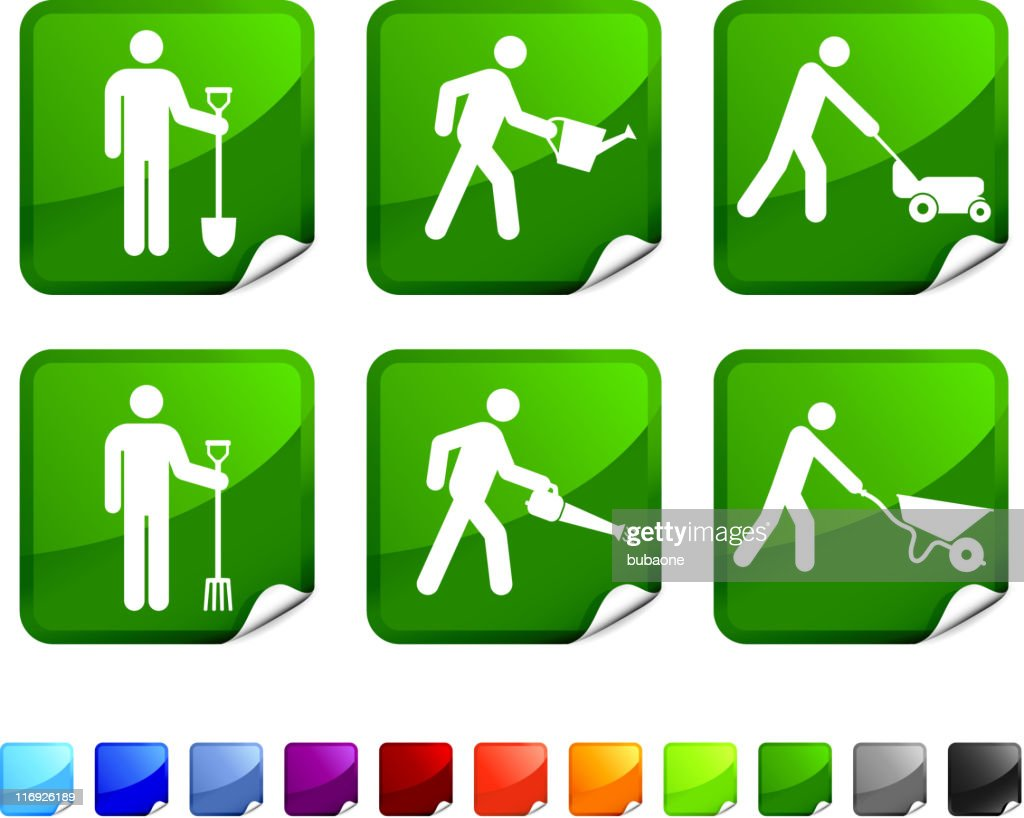 Various gardening chore green and white sticker set