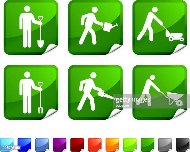 various gardening chore green and white sticker set - leaf blower stock illustrations, clip art, cartoons, & icons