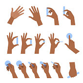 Various gestures of black human hands flat vector illustration set.