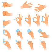 Various gestures of human hands with objects. Flat vector illustration.