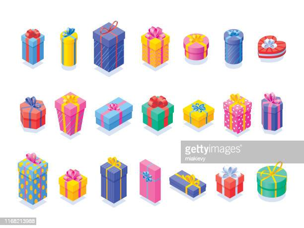 various gift boxes set - parcel stock illustrations
