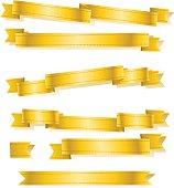 various golden banner ribbons set