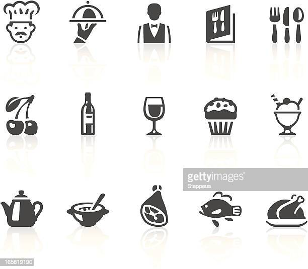 Various gray illustrated restaurant icons