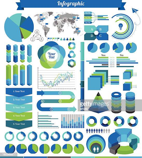 Various green and blue infographics on white background