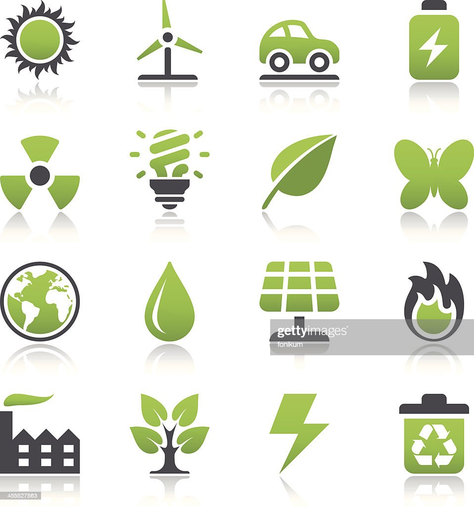 Various green ecology icons isolated on white