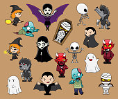 Various Halloween Cute Characters Werewolf Mummy Dracula Devil Ghost Witch Cartoon Vector Illustration