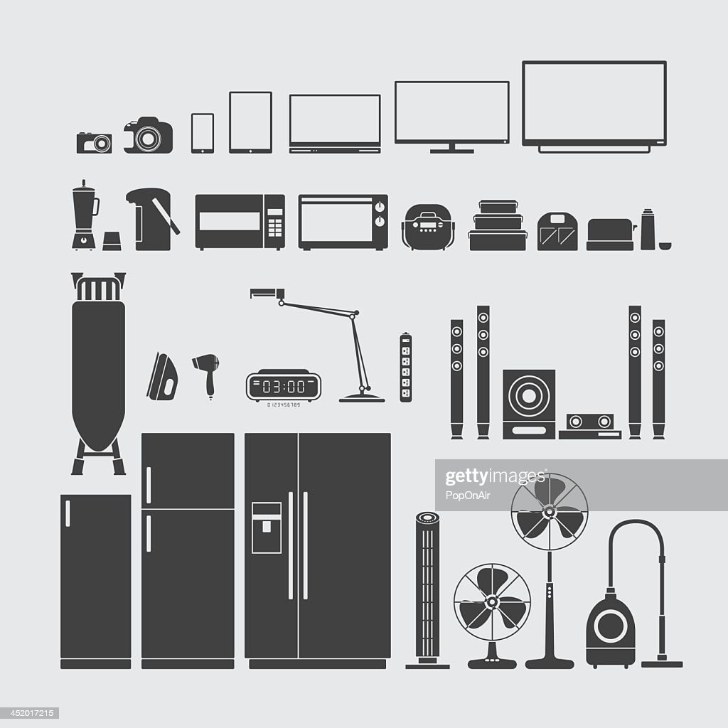Various home appliance symbols in dark gray