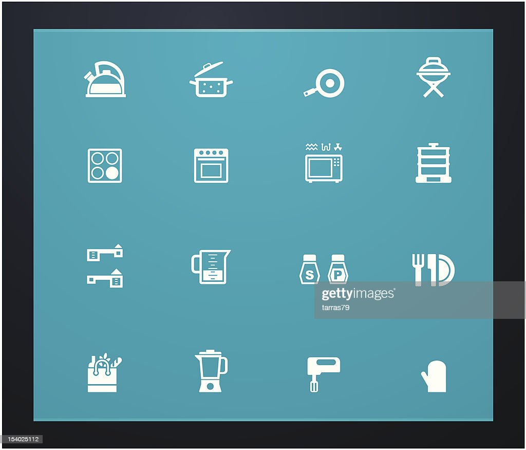 Various icons of cooking glyphs on a blue background