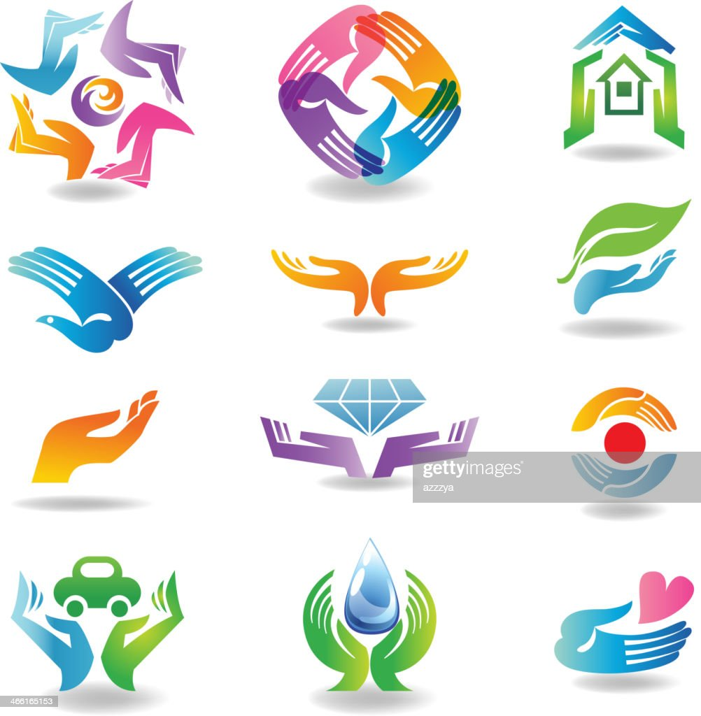 Various icons of hands holding objects