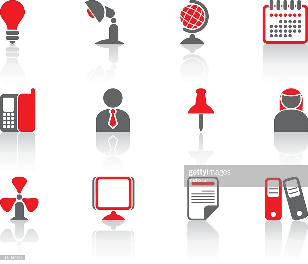 Various icons of office materials and people