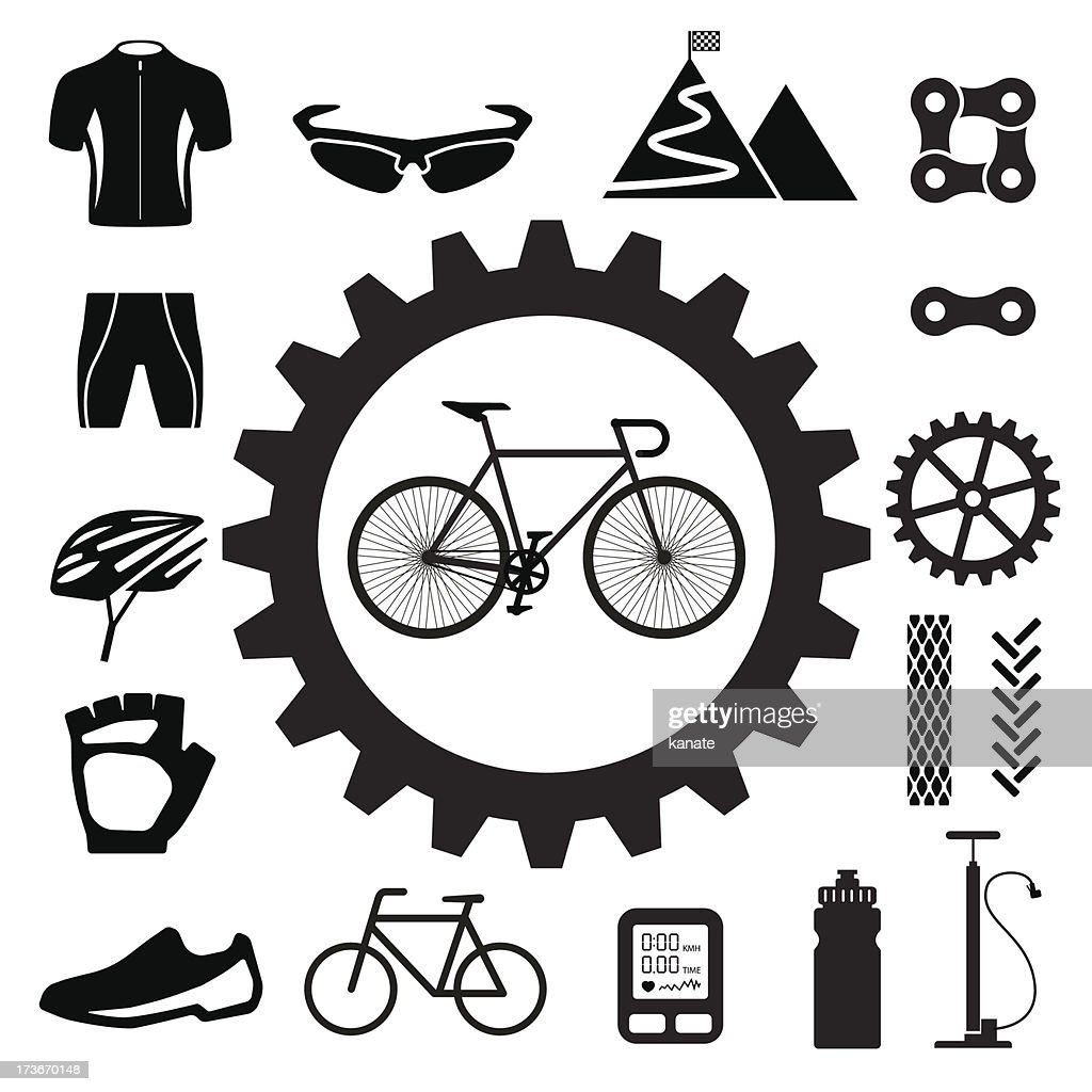 Various icons symbol on bicycles