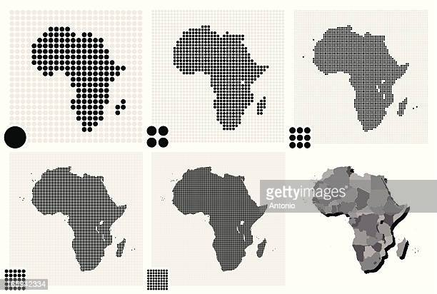 Various illustrated maps of Africa made out of dots