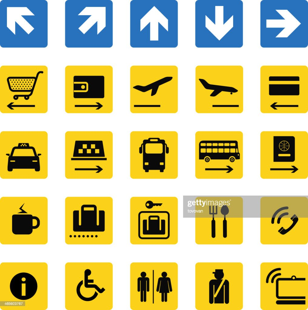 Various illustrations of airport information signs