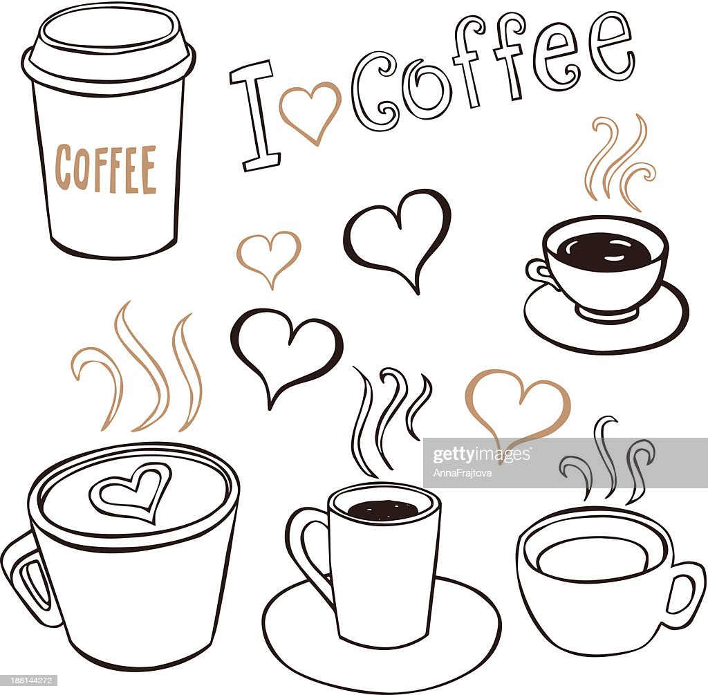 Various images representing the love of coffee