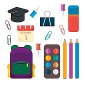 Various individual school supplies vector set.