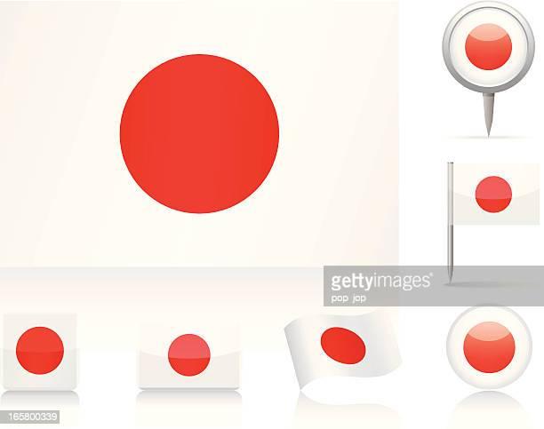 various interpretations of the flag of japan - japanese flag stock illustrations, clip art, cartoons, & icons
