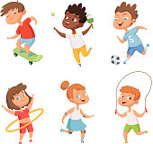 Various kids in active sports. Vector characters isolate on white background
