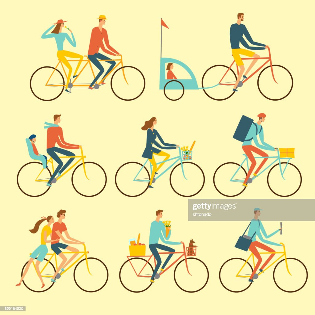 Various lifestyle city cyclists set