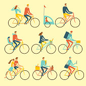 Various lifestyle city cyclists set