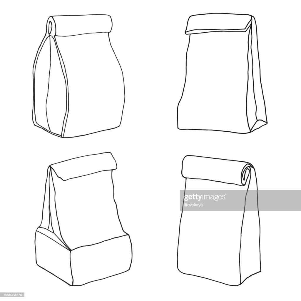Various lunch bags and lunch boxes. Sketch, hand drawn, vector.