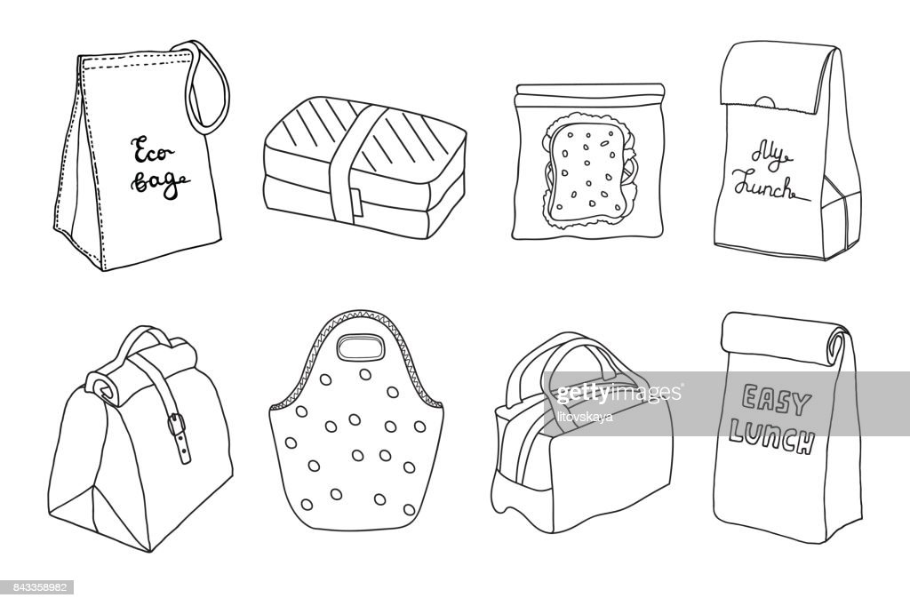 Various lunch boxes and lunch bags set.