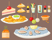 Various meat canape snacks appetizer fish and cheese banquet snacks on platter vector illustration