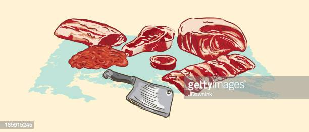 various meat cuts of raw beef and clever - ground beef stock illustrations