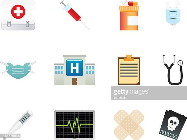 various medical icon sets of symbols - x ray equipment stock illustrations, clip art, cartoons, & icons