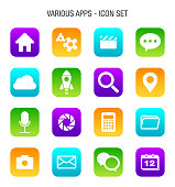 Various Mobile Apps Icon Set