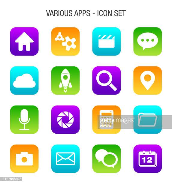 various mobile apps icon set - mobile app stock illustrations