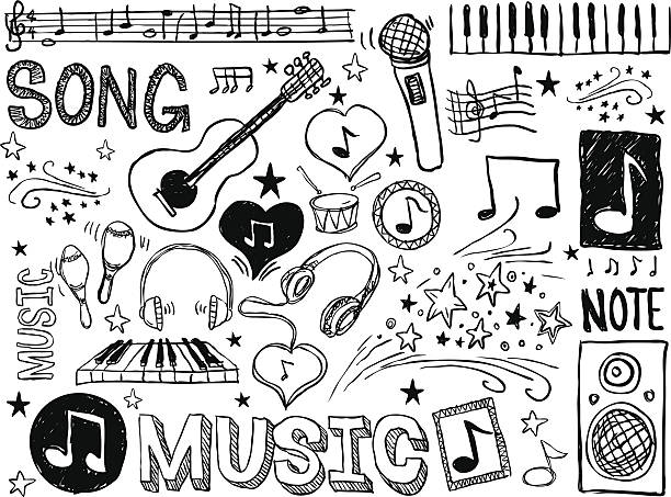 various musical elements in black and white - doodle stock illustrations