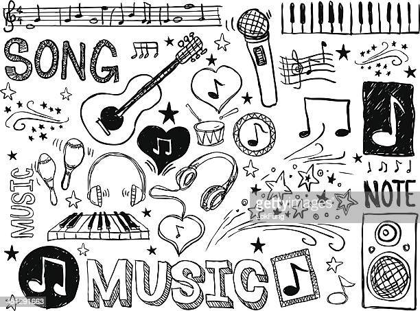 various musical elements in black and white - pencil drawing stock illustrations