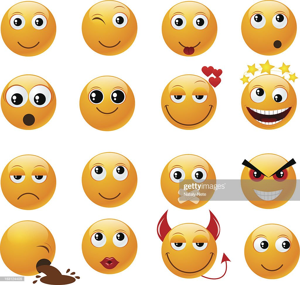 Various orange emoji style faces