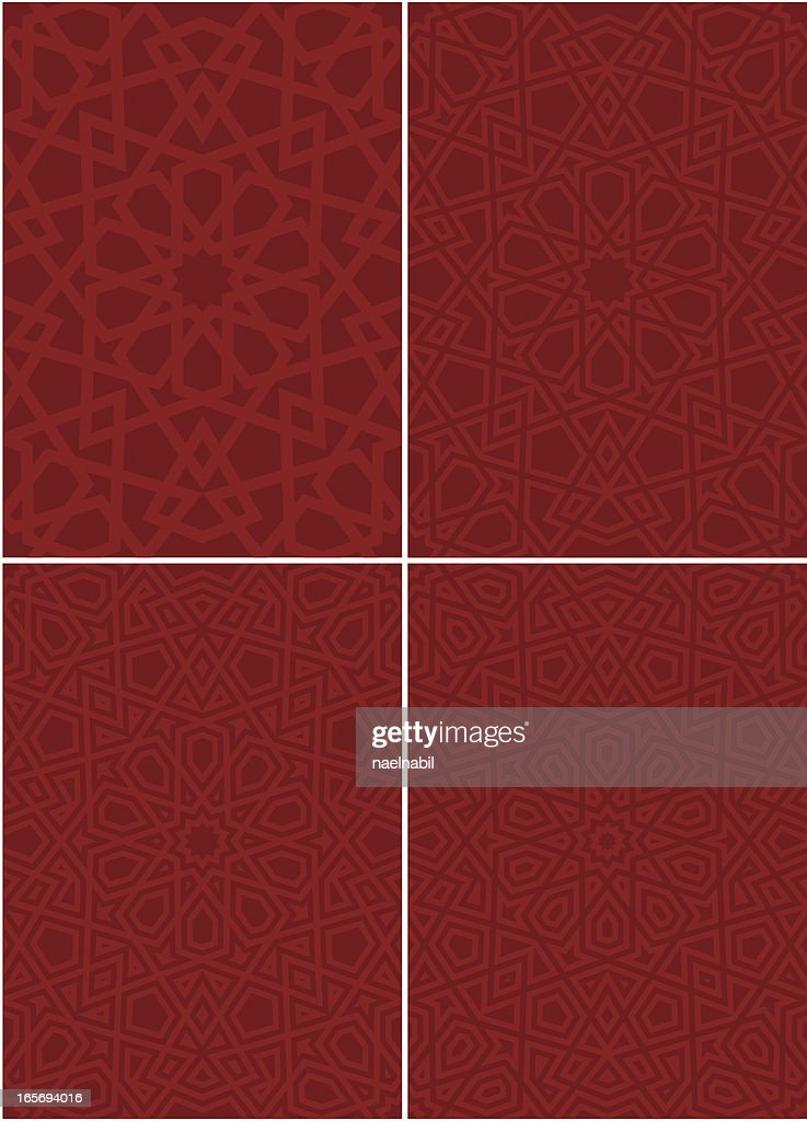 Various ornate Islamic patterns in red