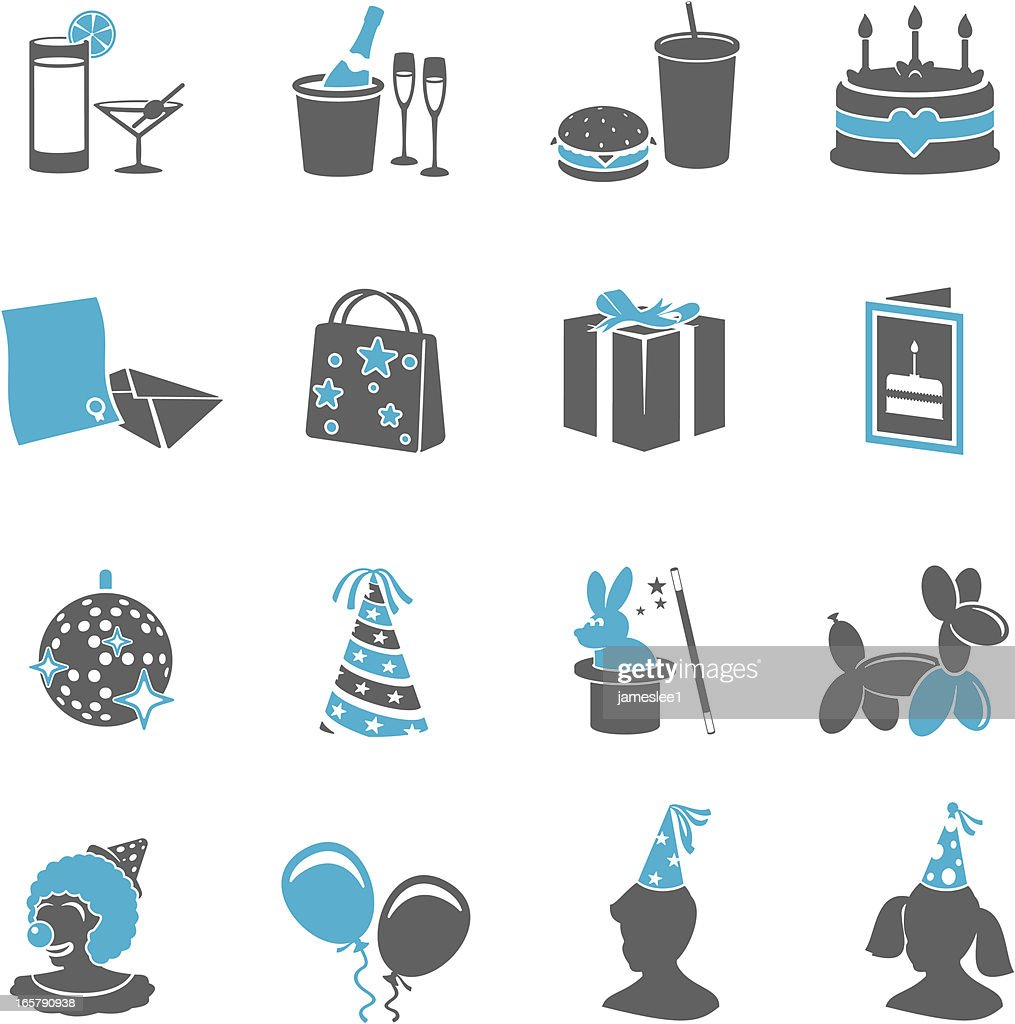 Various party icons in gray and light blue : stock illustration