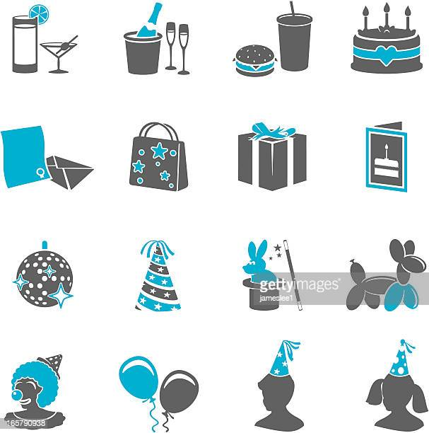 Various party icons in gray and light blue
