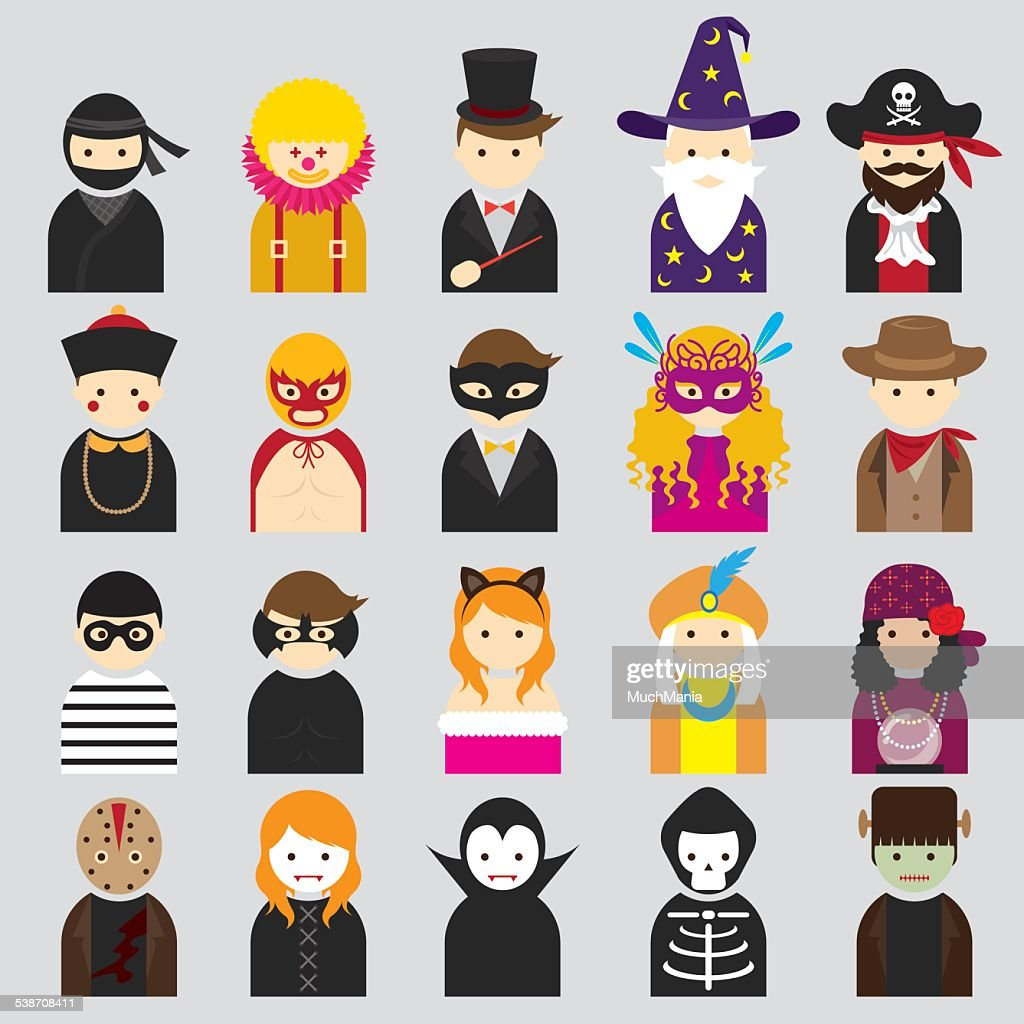 Various People Symbol Icons Fancy Mask Set