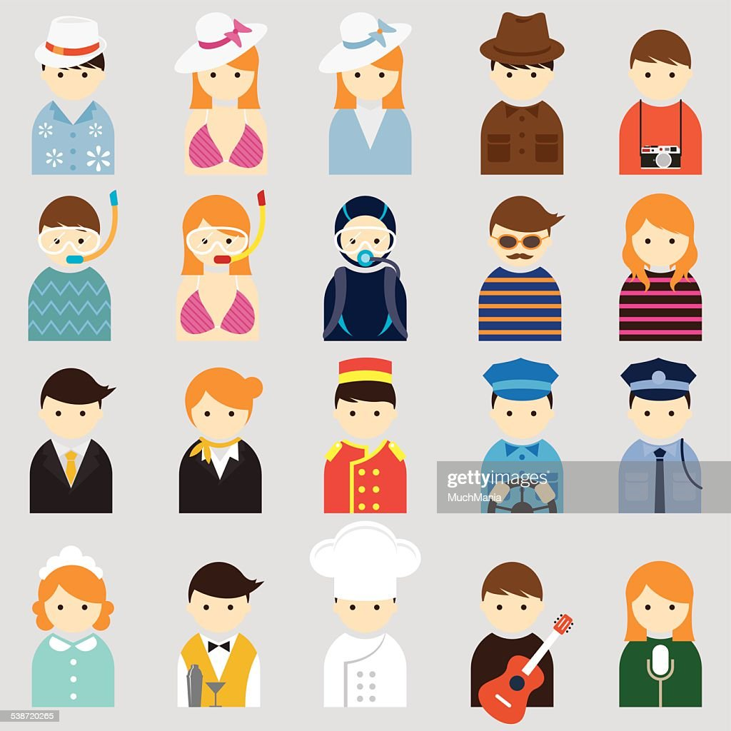 Various People Symbol Icons Hotel & Travel Set