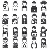 Various People Symbol Icons Occupation and Artisan Set