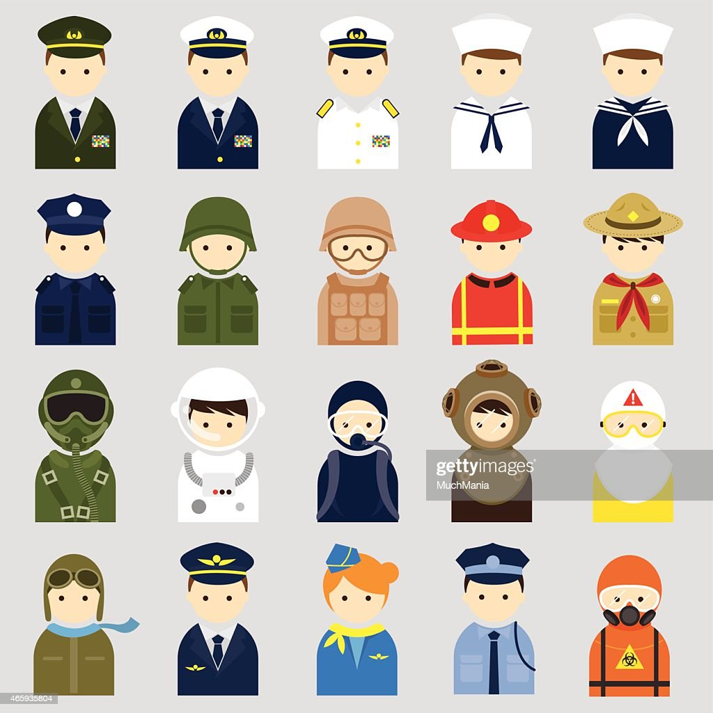 Various People Symbol Icons Officer and Uniform Set