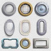 Various portholes isolated vector set. Submarine, airplane and ship windows