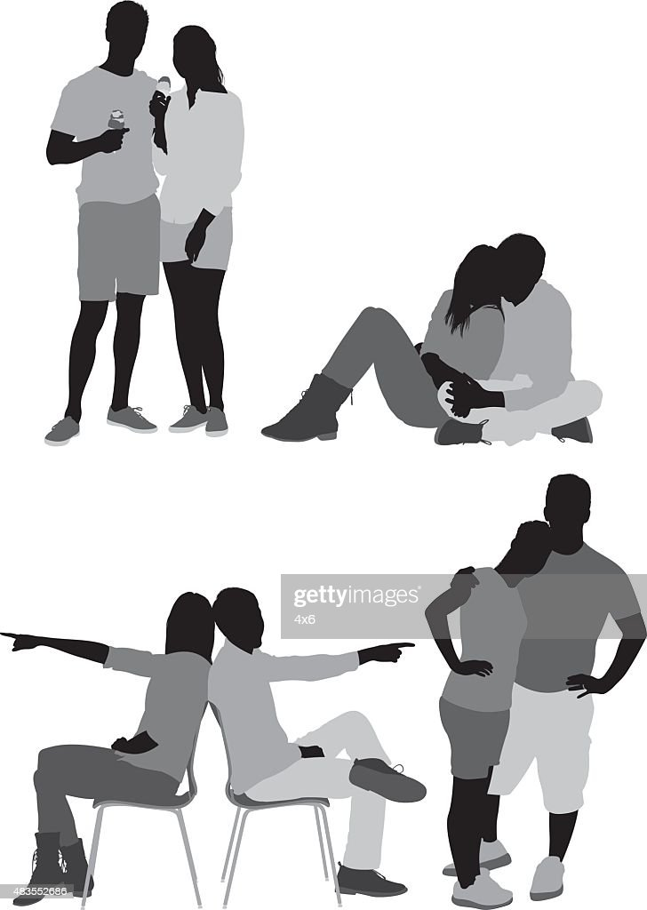Various poses of couple : stock illustration
